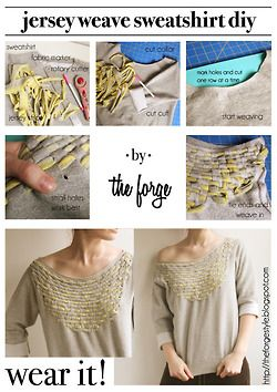DIY weave sweatshirt