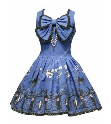 Navy Blue Sleeveless Print Sweet Lolita Dress