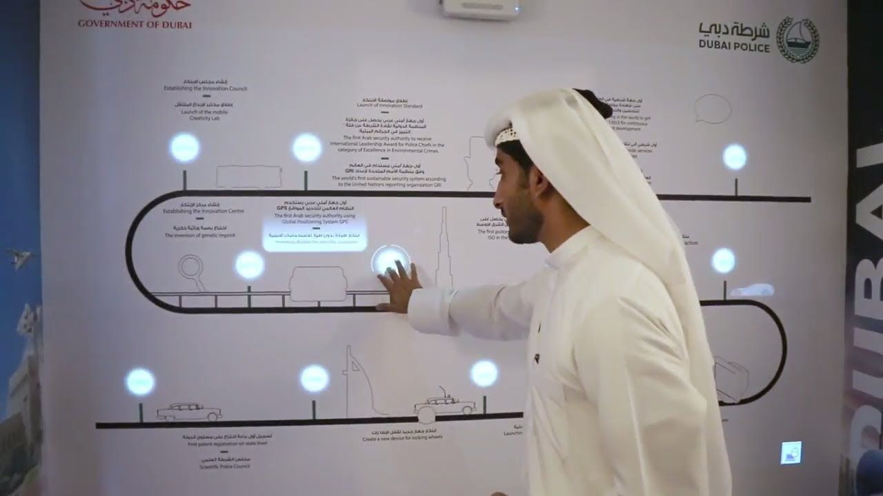 Interactive projection wall at Dubai Police Innovation Oasis in Dubai Ci...