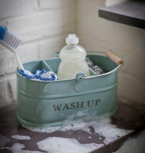 Kitchen sink blue Enamel Washing Up Sink Tidy - Shabby Chic ...