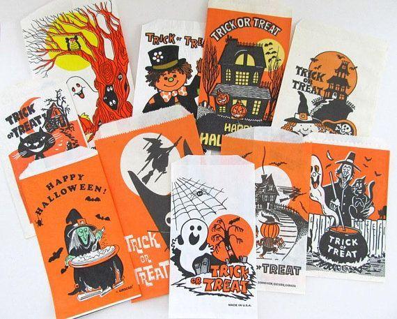 Vintage Halloween Decorations, Trick or Treat Bags, Goody Bags - vintage halloween decorations