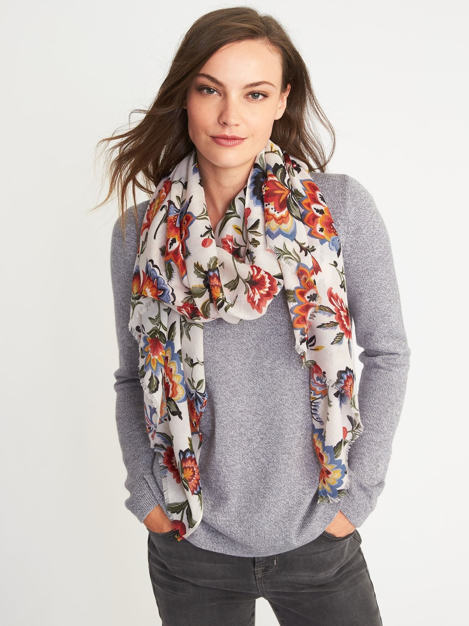 6f15fcf989d Old Navy Lightweight Printed Scarf for Women in Cream Floral | Wanna ...