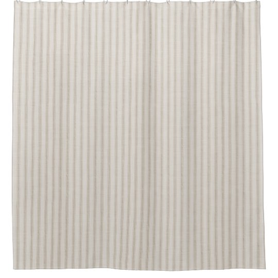 Beige Ticking Stripes Farmhouse Bath Decor Shower Curtain