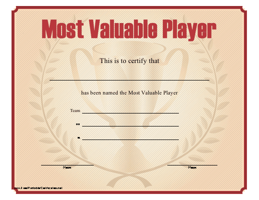 most valuable player certificates