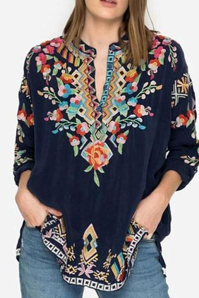 Zecilbo Womens Casual Blouse Boho Embroidered V Neck 3//4 Sleeves Ladies Shirts Loose Spring /& Summer Tops