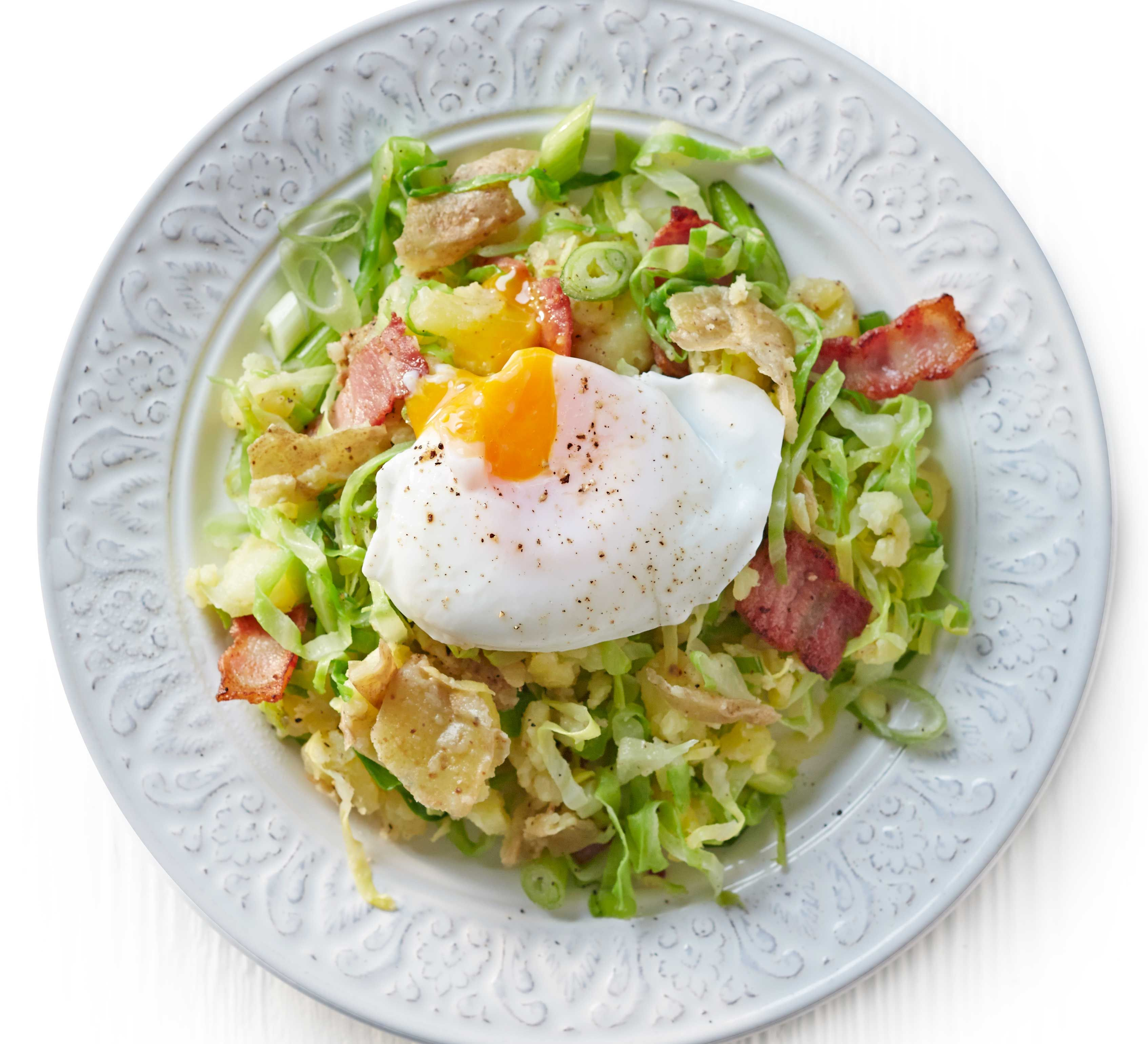 Crushed potato colcannon with bacon poached eggs recipe crushed potato colcannon with bacon poached eggs recipe crushed potatoes cabbage and bacon forumfinder Choice Image
