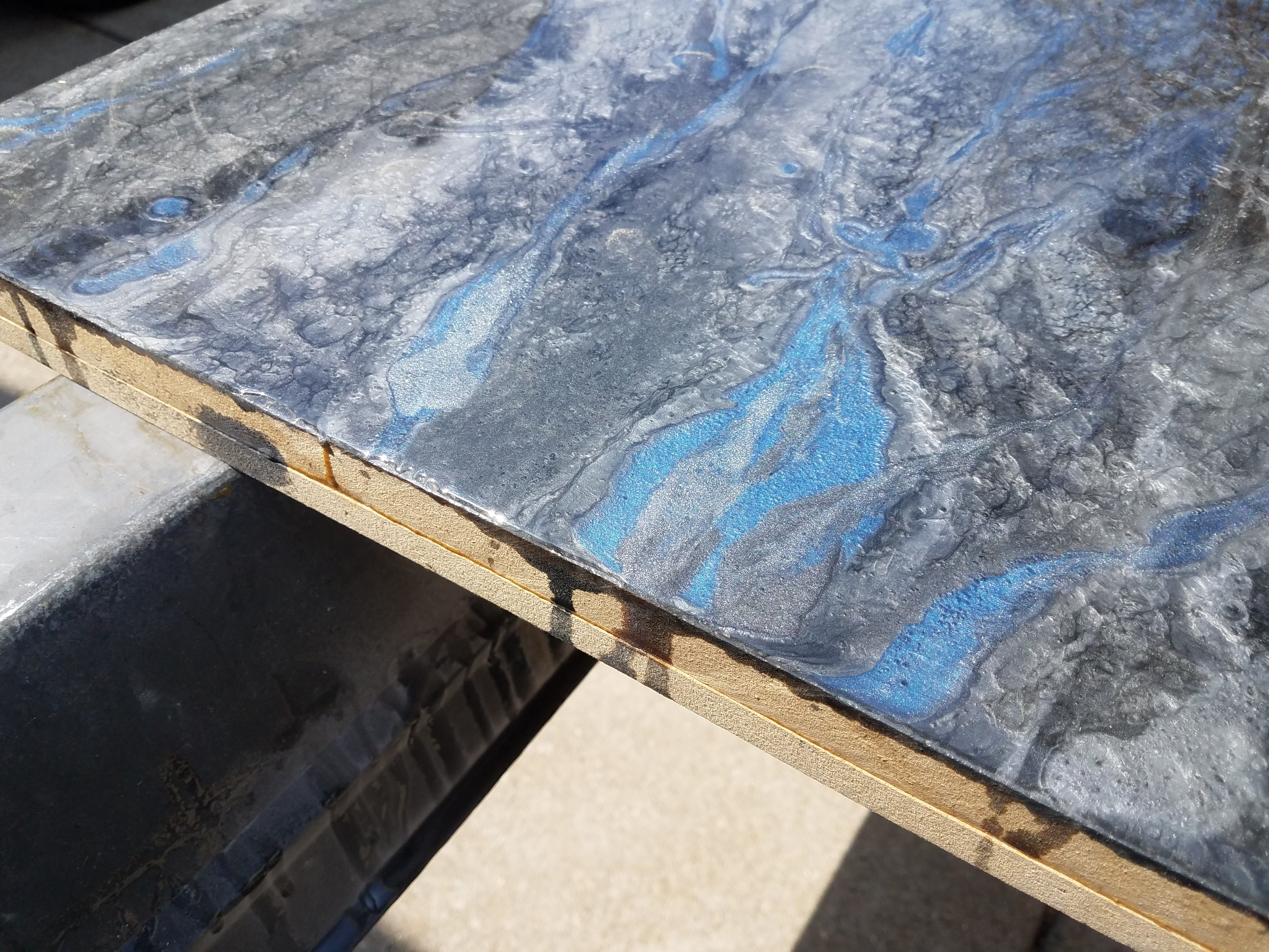 Man Made Granite Countertops Epoxy With Blue Flame Highlights