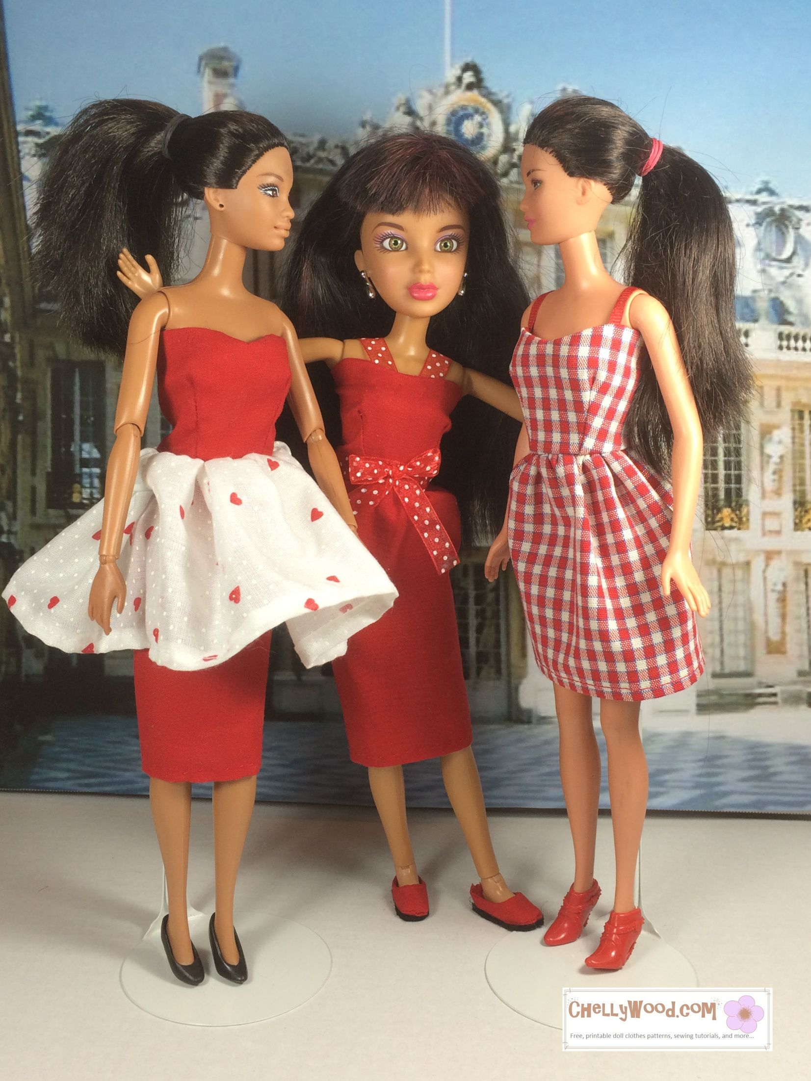 Images of two Barbie dolls and one Liv doll wearing pretty red ...