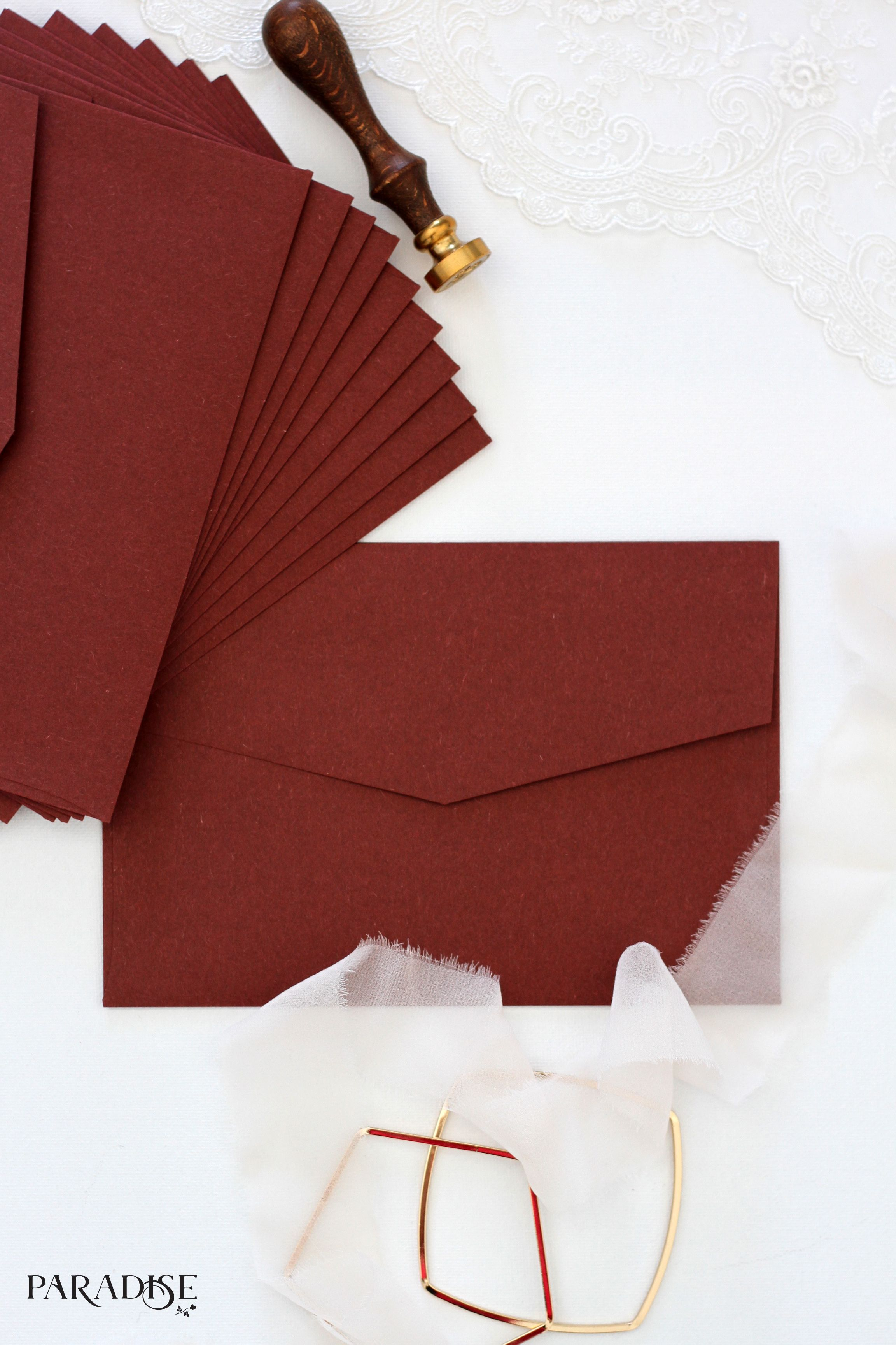 wedding invitation envelope red elegant classy modern wax