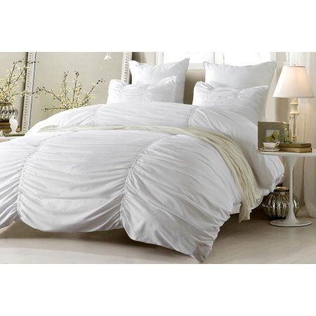 Ruched Design White Bedding Set Includes Comforter And Duvet Cover Style 1005 C Twin Xl Cherry Hill Collection