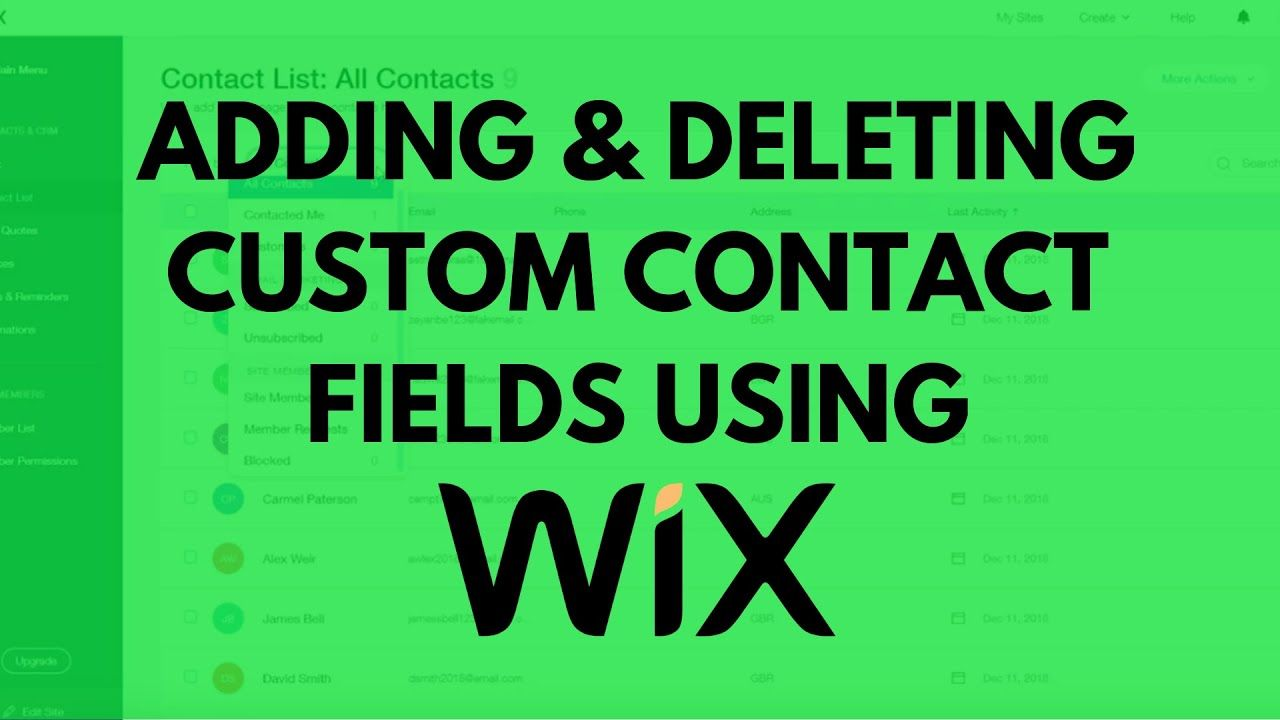 How to add and delete custom contact fields on wix website