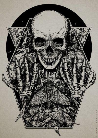 Butterfly On Tumblr Skull Art Skull Skeleton Illustration