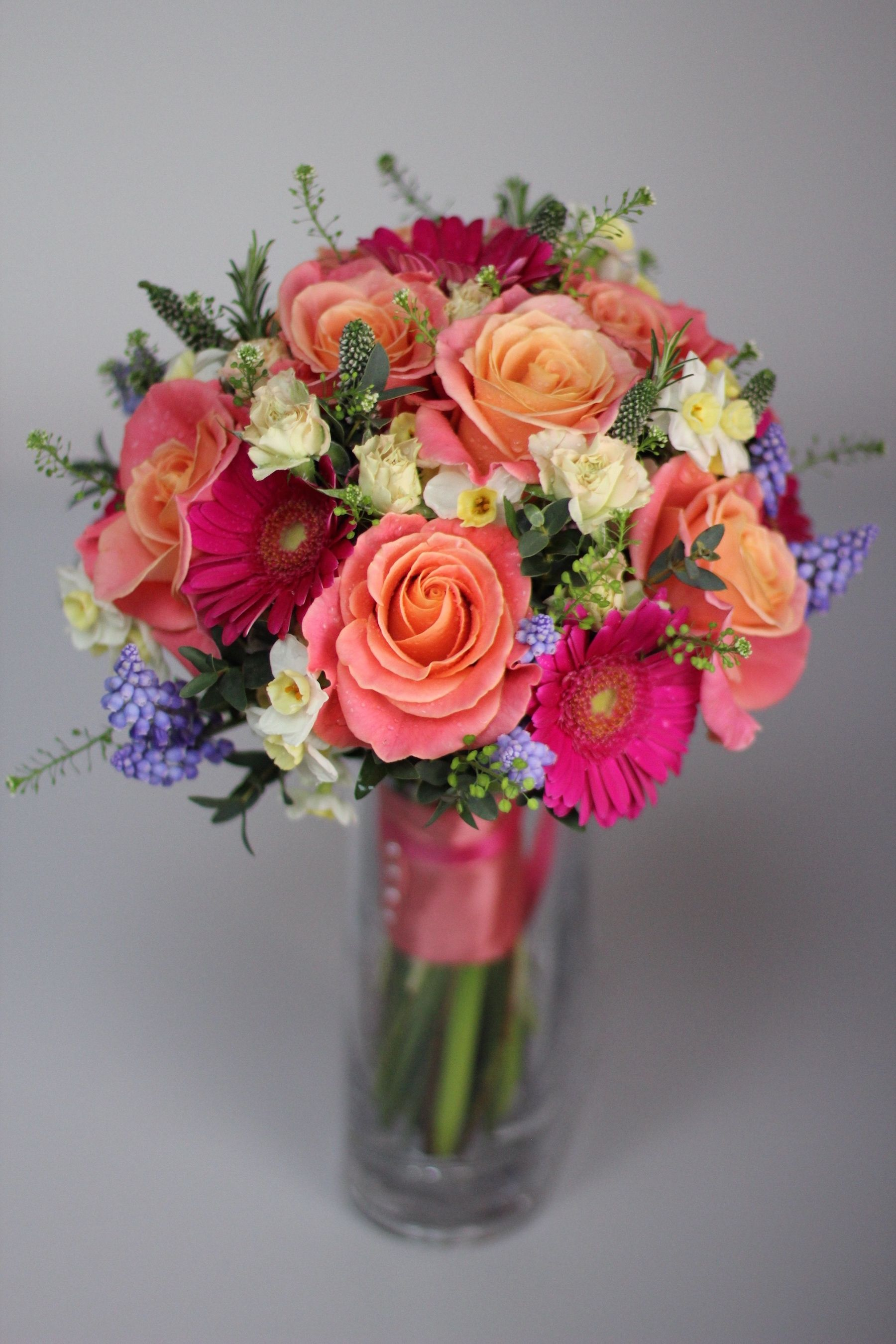 Gorgeous bridal bouquet with vibrant pink and orange tones ...
