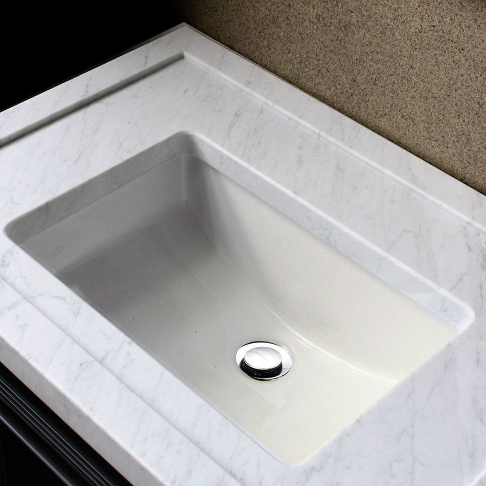 Highpoint Collection Ceramic 18x12 Inch Undermount Vanity Sink   Bisque By  HIGHPOINT COLLECTION