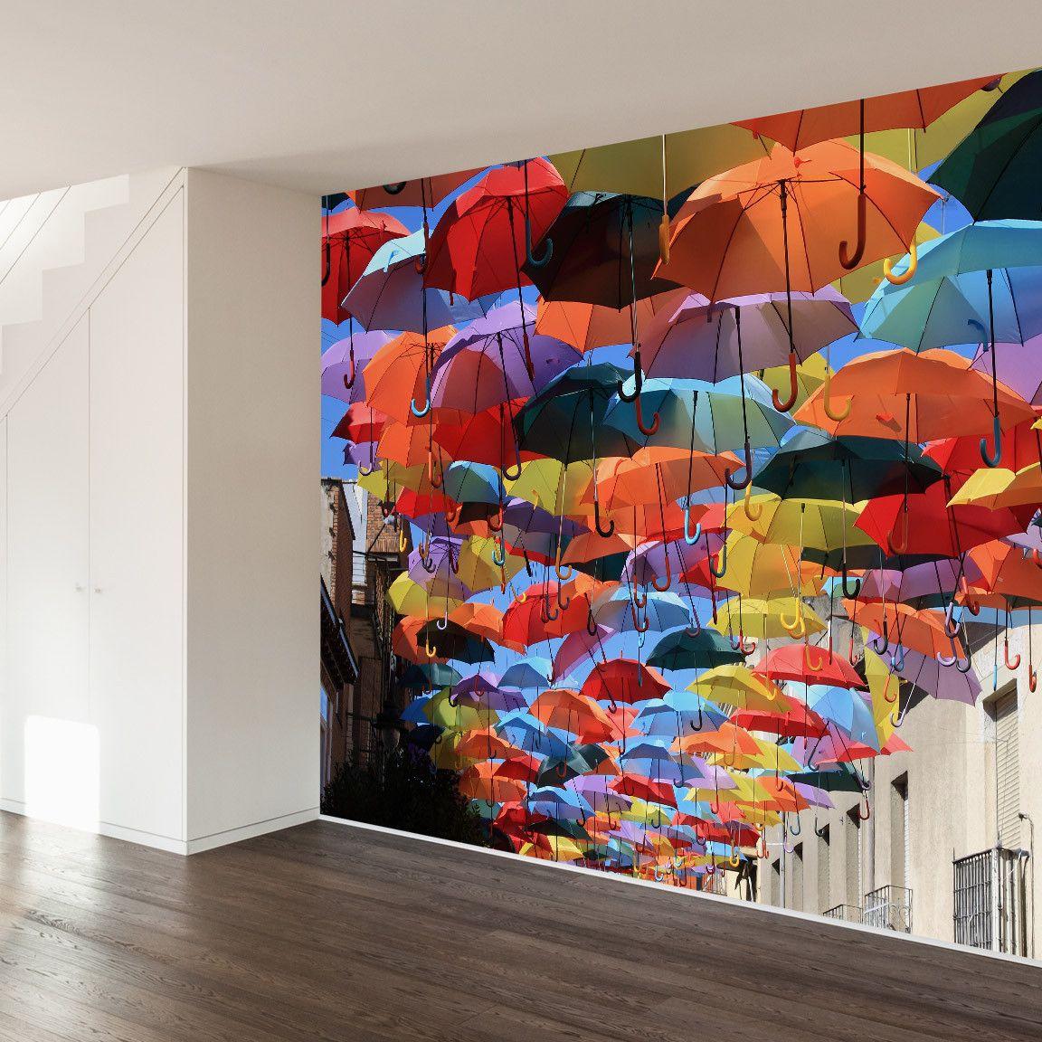 Umbrellas in madrid wall mural decal walls need love murals