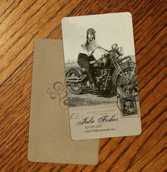 Vintage Inspired Motorcycle Girl Personalized Calling by GoGoSnap, $76.00