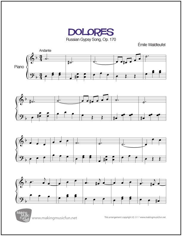 Violin kabalevsky violin concerto in c major sheet music : Dolores Waltz (Waldteufel) | Sheet Music for Piano (Digital Print ...