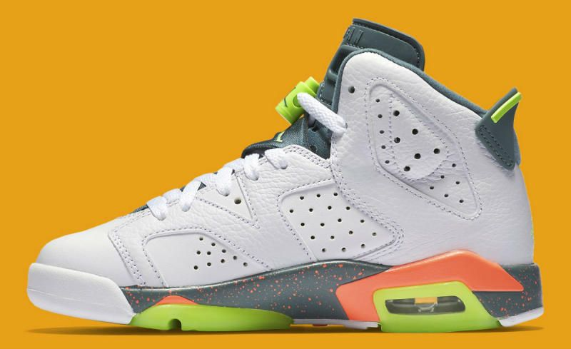 2abc2bef4f99 Air Jordan 6 Retro GS White Ghost Green-Hasta-Bright Mango 384665-114 (3)