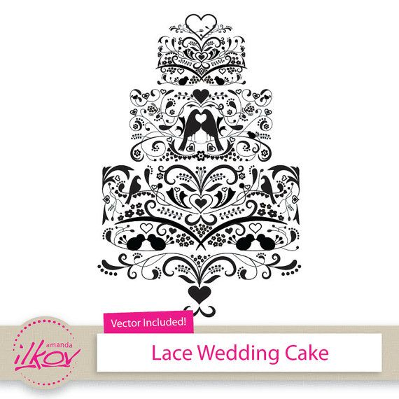 Love Birds Lace Wedding Cake Clipart For Invitations Digital Scrapbooking And More