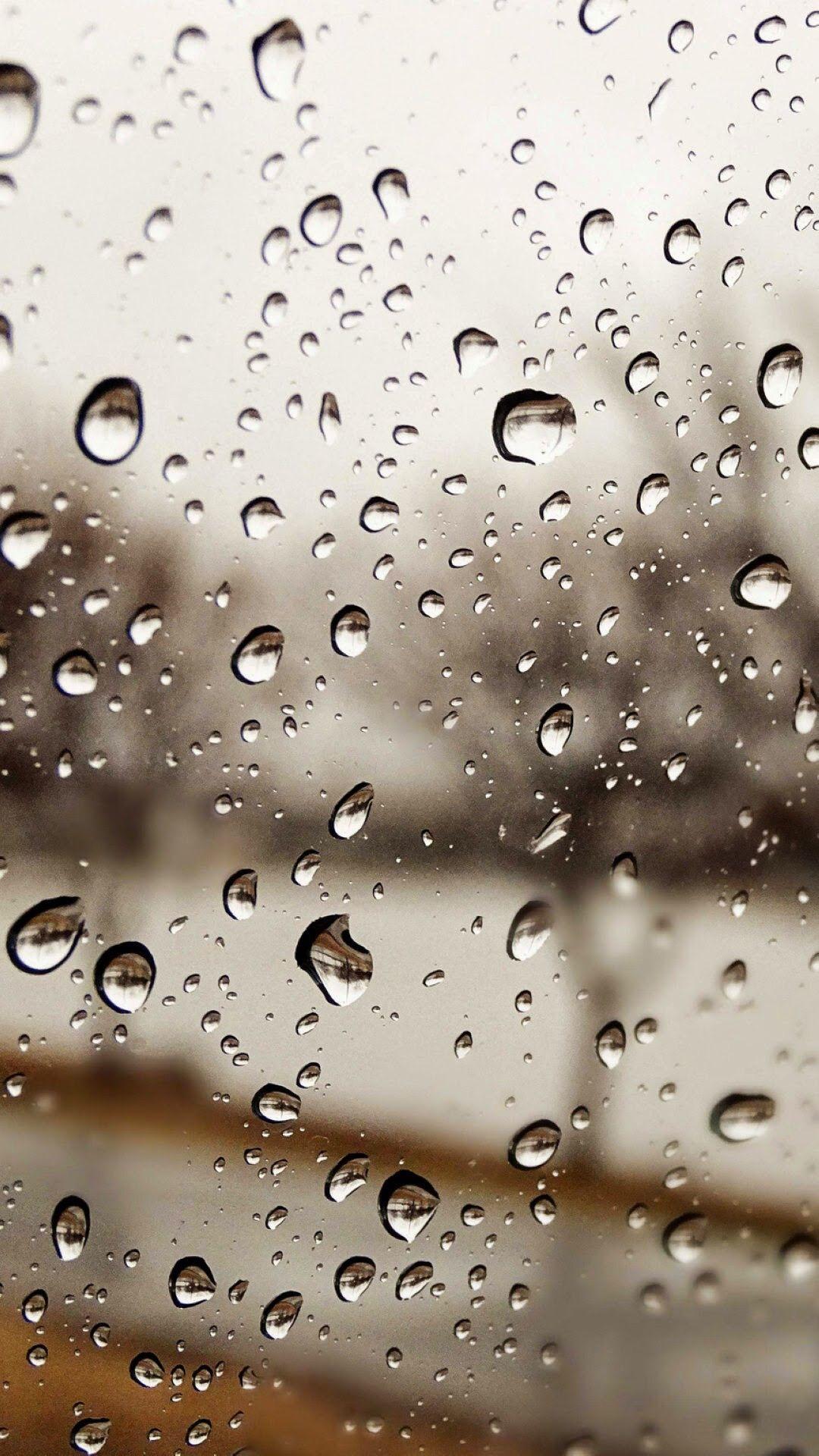 Wallpaper Of Rainwater Drops On Window Glass Wallpaper
