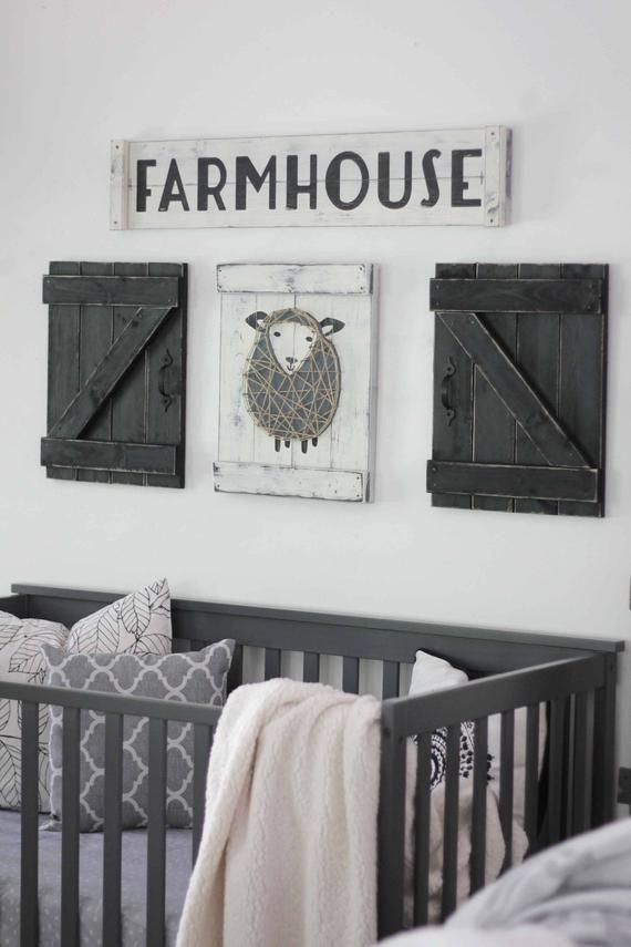 Sheep Nursery Decor Lamb Art Rustic