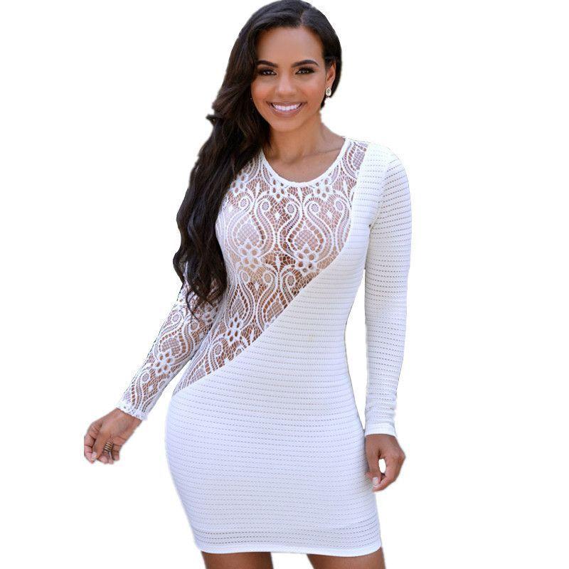 White Black Lace Accent Mini Dress LC22280