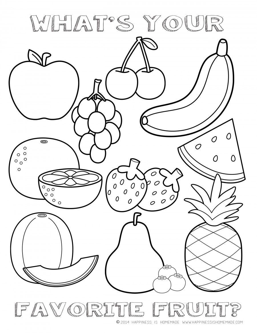 FREE Fruit Coloring Page | Happiness is Homemade (With ... | fruits coloring pages for preschoolers