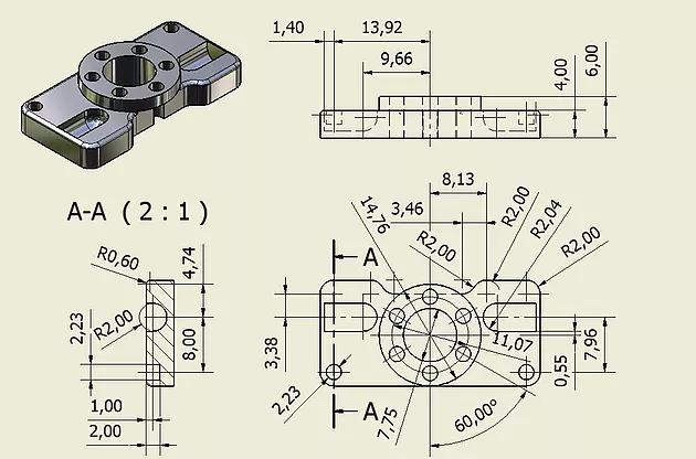 Pieza Acotaciones Para Una Pieza Mecanica Piezasmecanicas Diseno Mecanico Dibujo Mecanico Dibujo Tecnico Industrial