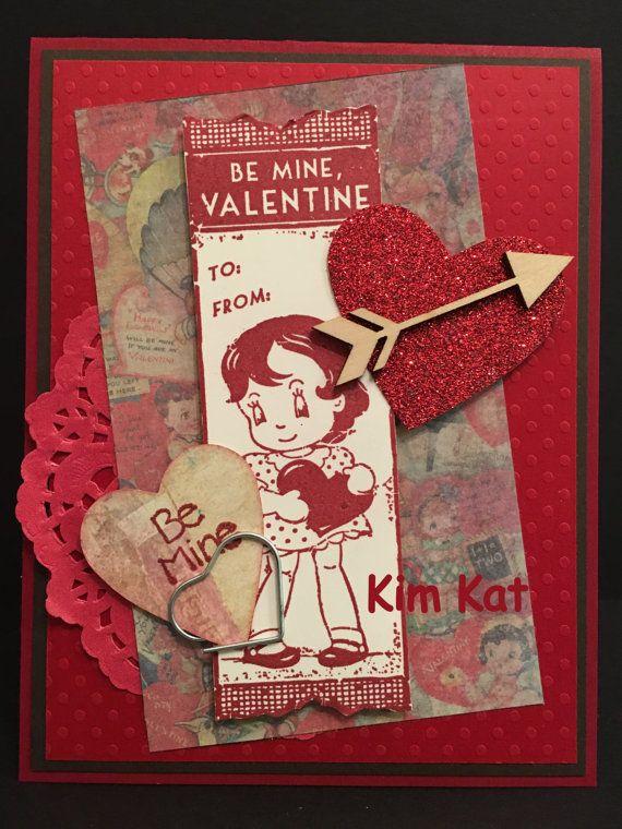 Retro Valentine Card 3D Pop Up Little Girl Heart Be by KimKatShop