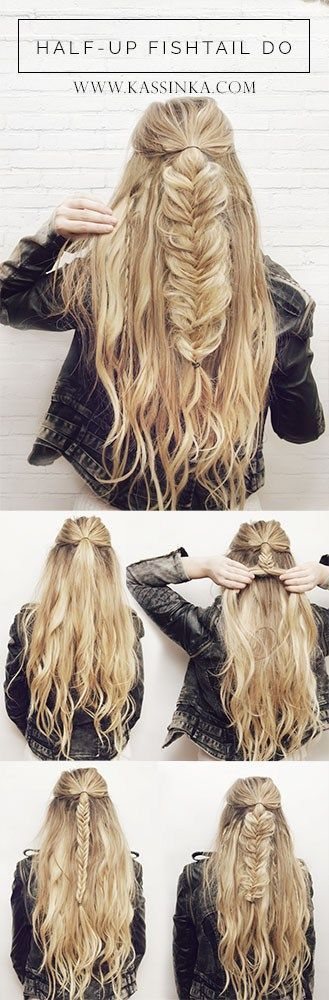 Fishtail braids down both sides...i am trying this :)