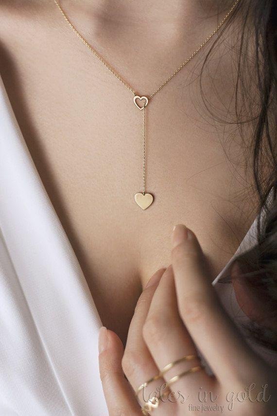 Photo of Gold Herz Lariat, Gold Herz Halskette, Gold Lariat Halskette, 14K Gold Halskette, Gelbgold, z…