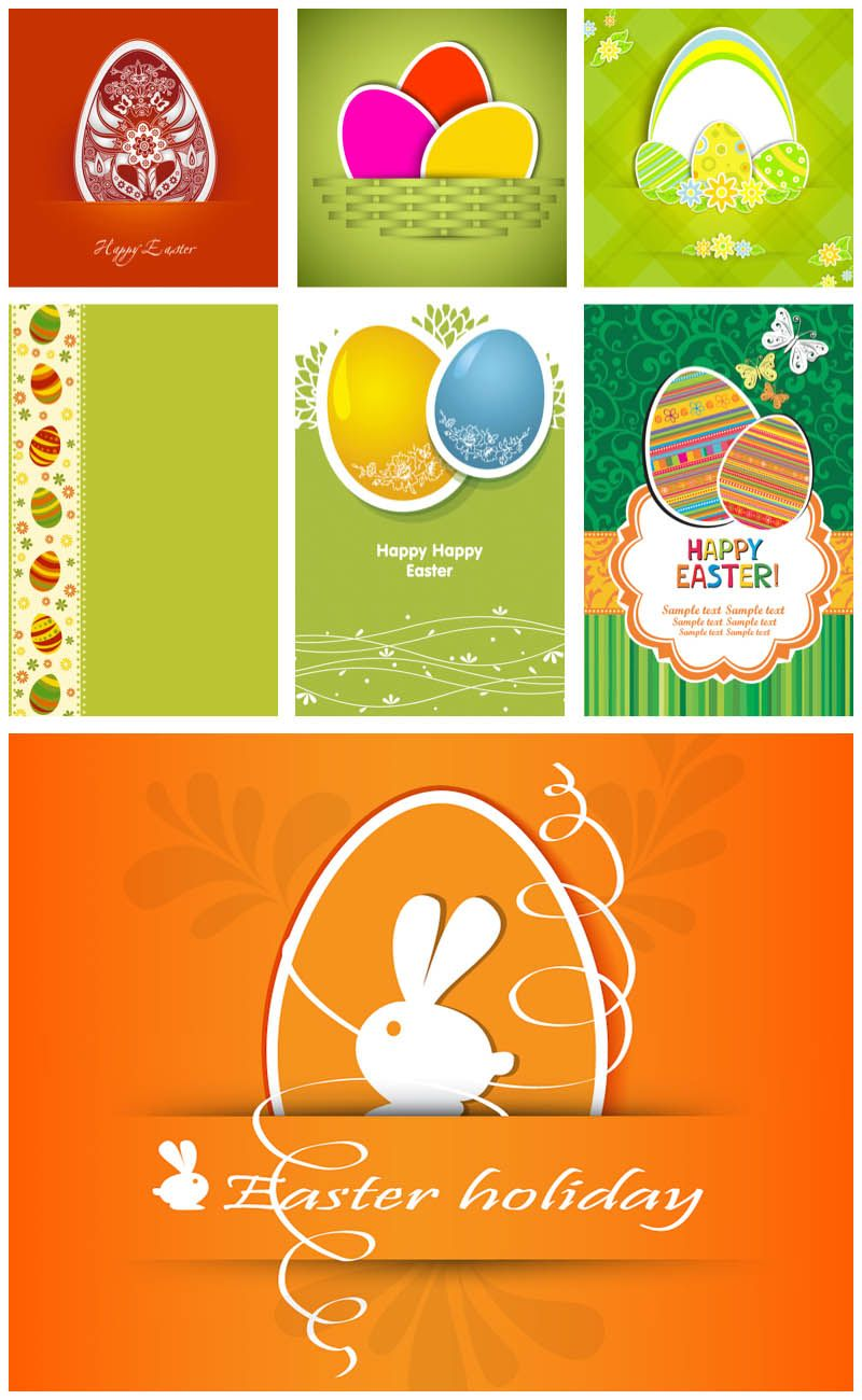 Easter card designs vector – Sample Easter Postcard Template