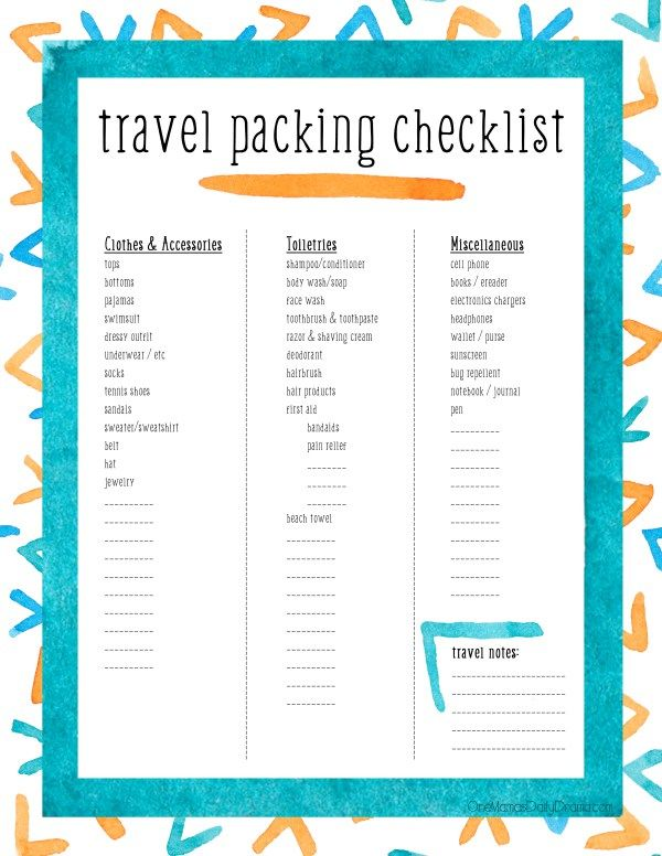 Printable Travel Packing Checklist For Tweens  Teens  Travel
