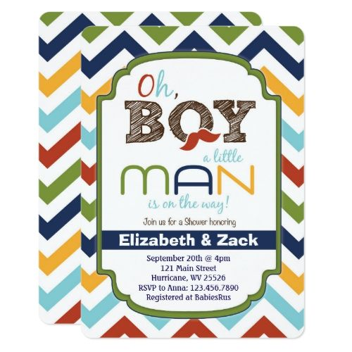 Little Man Mustache Baby Shower Invitation Baby Shower Invitations