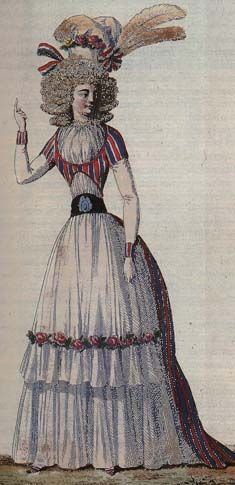 "FIGURINO DELL'EPOCA ""ROBE A LA TURQUE"" March 5, 1790, Plate 1. Issue no. 2. Dress in the ""patriotique"" style of red, white, and blue. The pink roses are not considered clashing. The feathers are actually all white--the brown is from aging of the print"