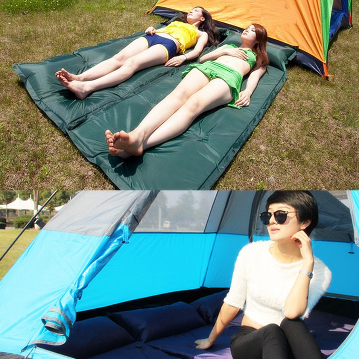 1pcs 2pcs Outdoor Camping Folding Self Inflating Inflatable Beds Air Cushion Beach Mat Mattress Hiking Sleeping Bags Inflatable Bed Sleeping In Bed