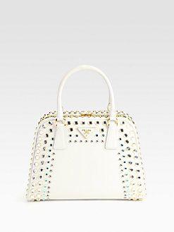 9a6e62db07ad Prada - Saffiano Vernice Embellished Frame Pyramid Top Handle Bag ...