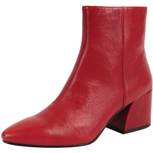 Vagabond Olivia-001 (£145) ❤ liked on Polyvore featuring shoes, boots, ankle booties, red, chunky booties, red bootie, chunky-heel boots, short boots and pointed toe boots