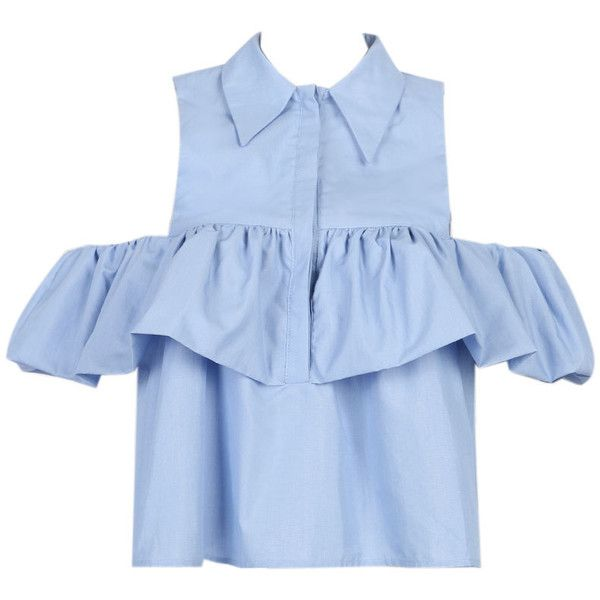 32ca5c08961b2 Light Blue Cold Shoulder Ruffle Detail Shirt ( 27) ❤ liked on Polyvore  featuring tops