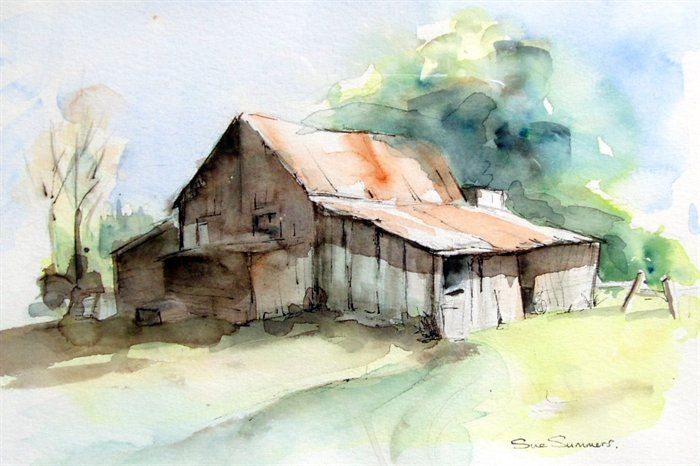 Barns in watercolor painting old barn watercolor for Watercolor barn paintings
