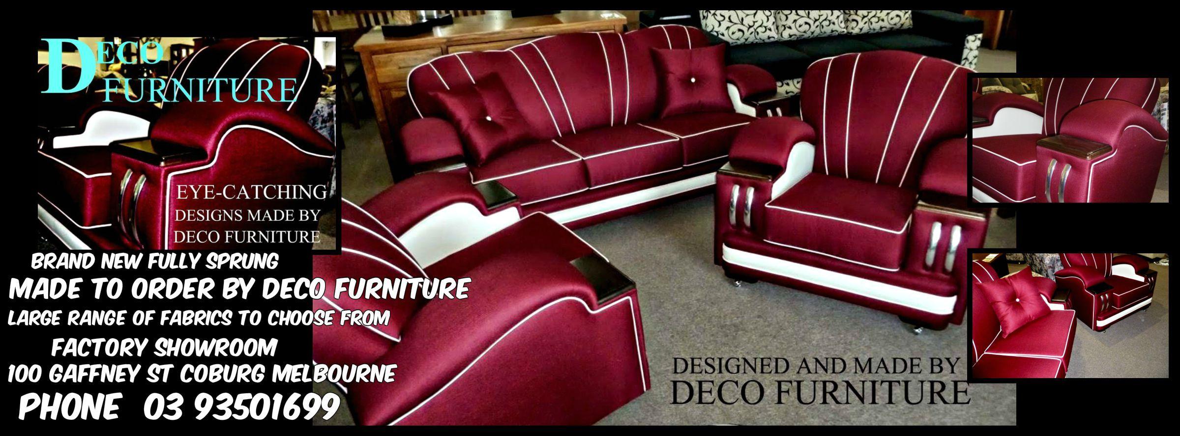 deco lounges made by  deco furniture  100 gaffney st coburg melbourne phone 03 93501699 facebook  deco furniture coburg website www.decofurniture.com.au www.facebook.com/DecoFurniture.com.au.