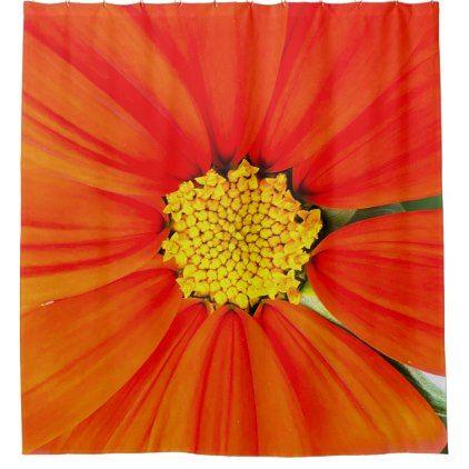 Orange Flower Shower Curtain   Shower Gifts Diy Customize Creative