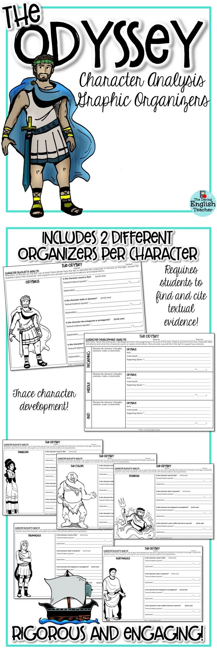 Odyssey Character Analysis Graphic Organizers Middle High School