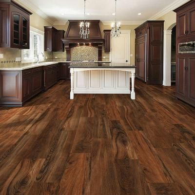Trafficmaster allure ultra wide 8 7 in x 47 6 in red for Dark wood vinyl flooring