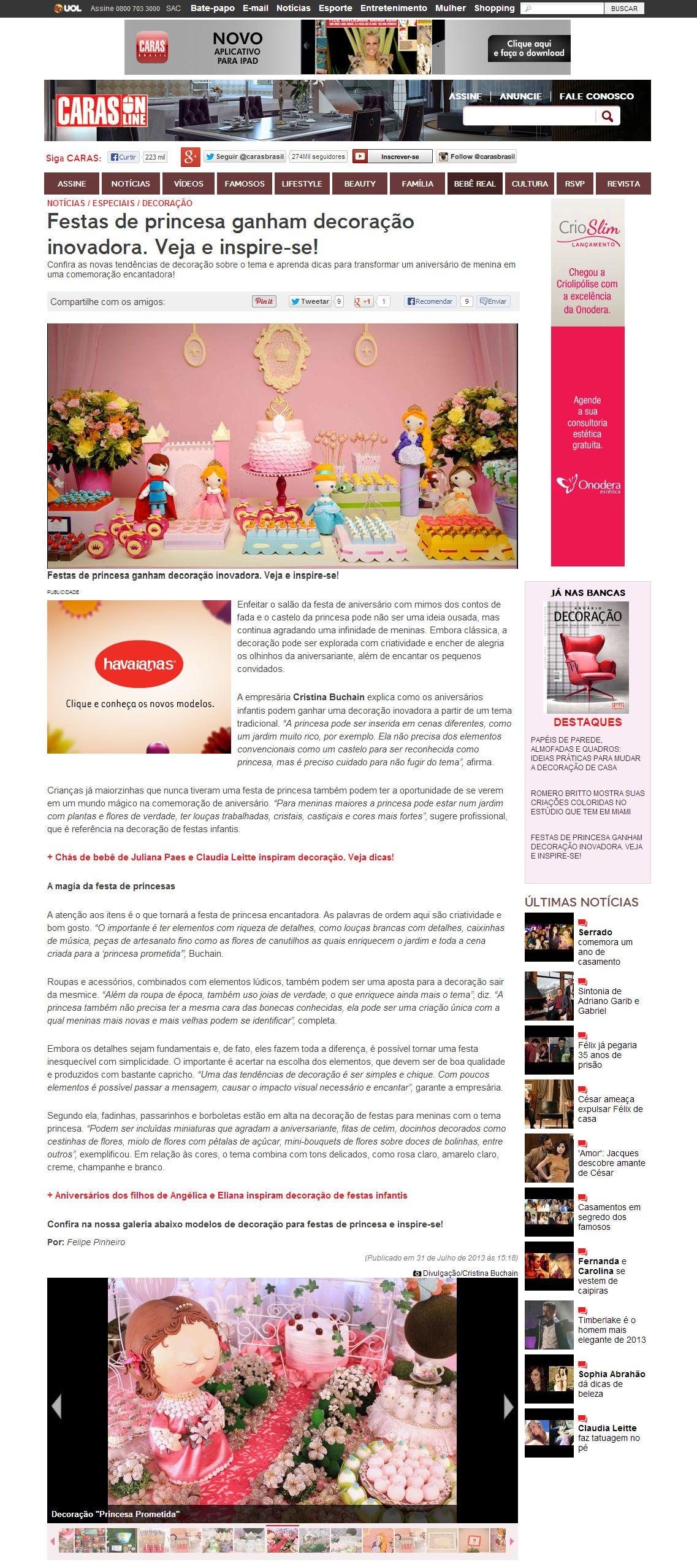 Cristina Buchain fala ao Portal Caras sobre o tema Princesa na decoraç u00e3o de festas infantis http  -> Decoração De Festas Com Xícaras