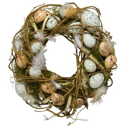 Rustic willow and egg wreath.