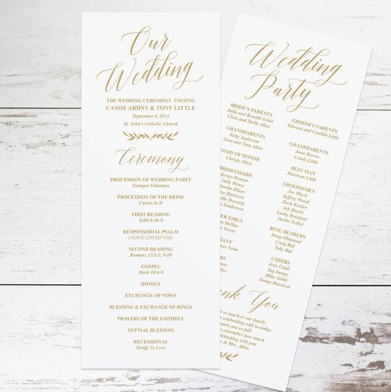 Gold Wedding Programs, Wedding Program Template, Rustic Wedding - wedding program template