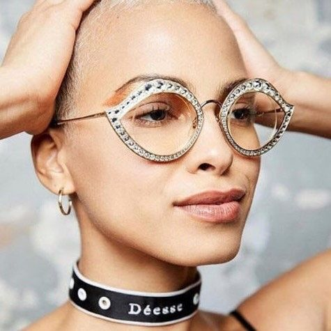 4073c36a9 Big Round Lens Eyeglasses Cat Eyes Rhinestones Frame in 2019   My ...