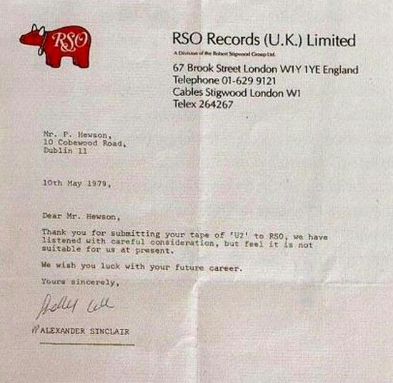 Rejection letter Bono and U2 received in 1979 from RSO Records - rejection letter sample