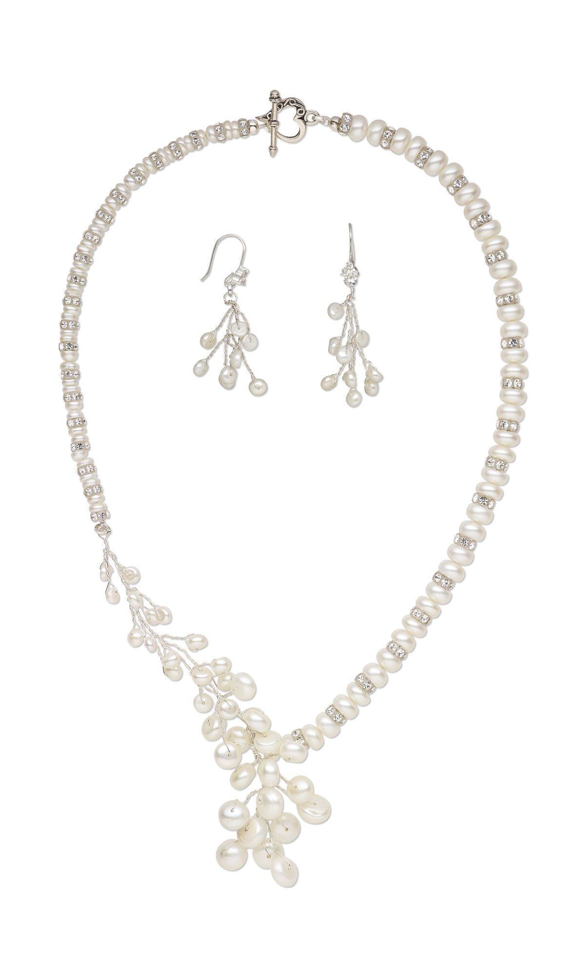 Jewelry Design - Single-Strand Necklace and Earring Set with White Lotus™ Cultured Freshwater Pearls, Swarovski® Crystals and Wirework - Fire Mountain Gems and Beads